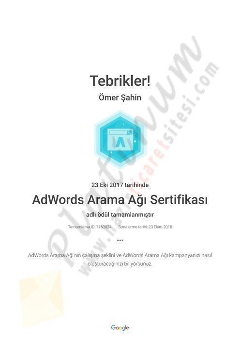 AdWords Arama Ağı Sertifikası