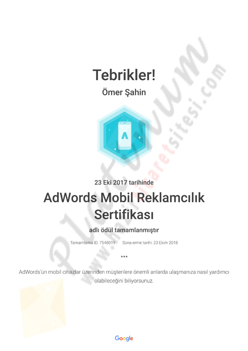 AdWords Mobil Reklamcılık Sertifikası Academy for Ads