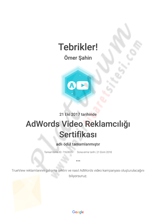 AdWords Video Reklamcılığı Sertifikası Academy for Ads