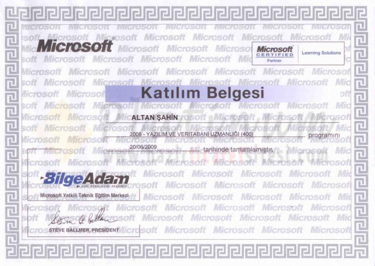 2009 – Yazılım ve Veritabanı Uzmanlığı
