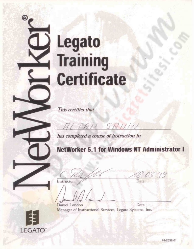 1999 – Legato Backup Networker