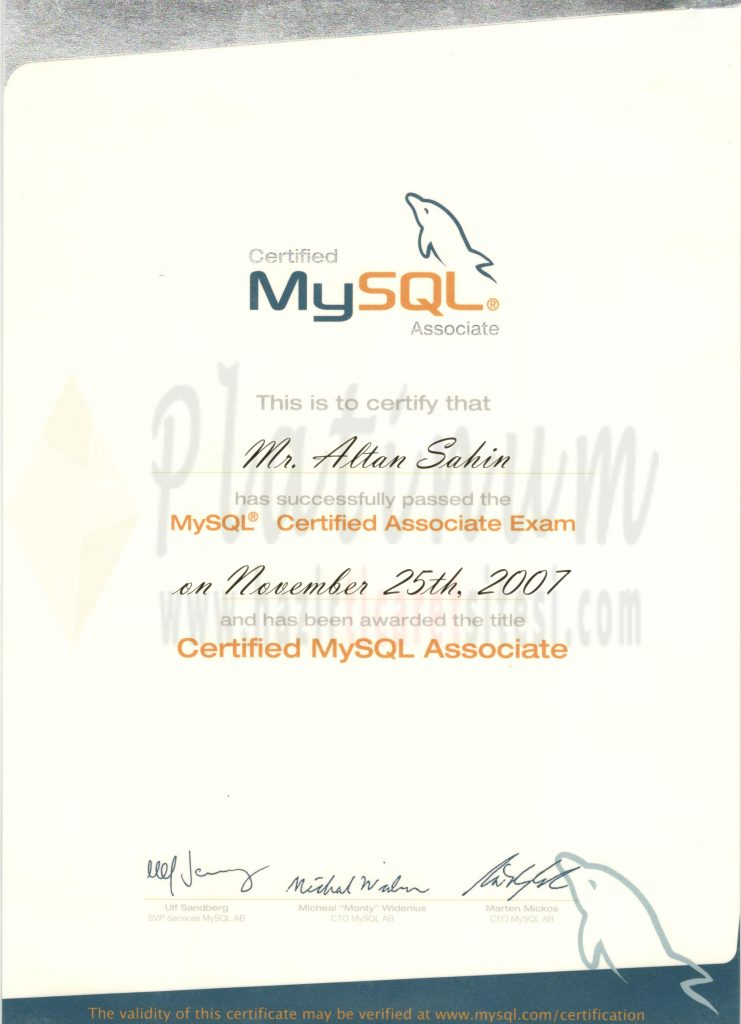 2007 – Certified Mysql Associate