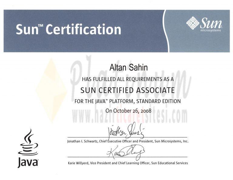 2008 – SUN CERTIFIED ASSOCIATE